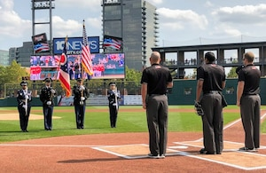 photo of 178th Wing Honor Guard performing at Columbus Clippers game