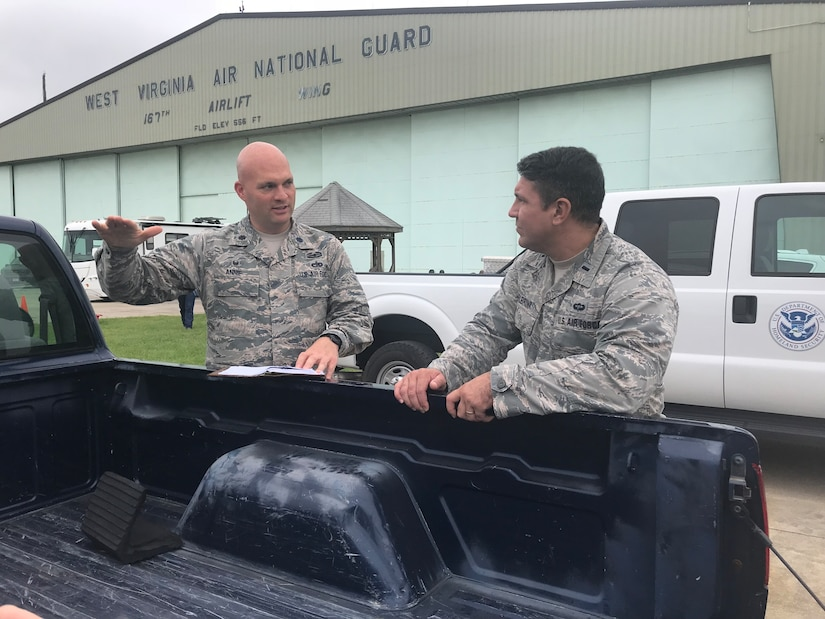 Members of the 167th Airlift Wing, West Virginia Air National Guard, help prepare for Hurricane Florence in Martinsburg, W.Va.