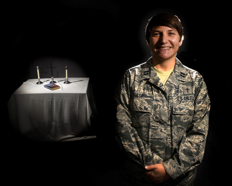 Captain Gretchen Hulse, a Chaplain at the 171st Air Refueling Wing near Pittsburgh, poses for a photo on Sept. 8, 2018. (U.S. Air National Guard Photo by Staff Sgt. Bryan Hoover)