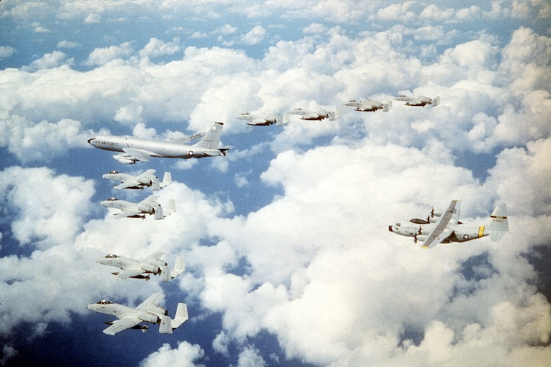 KC-135A in formation with A-10 Warthogs. (U.S. Air Force courtesy photo)