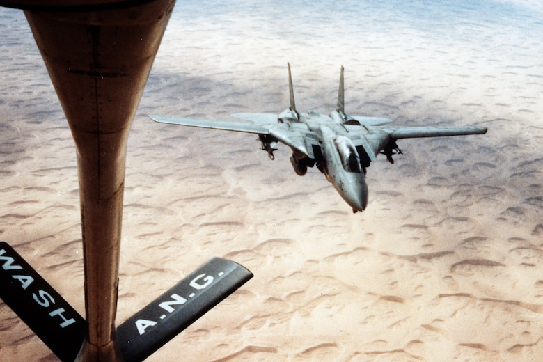 A 141st Air Refueling Wing KC-135 refuels a Navy F-15 Eagle during operations in Iraq December of 1991. (U.S. Air Force courtesy photo)
