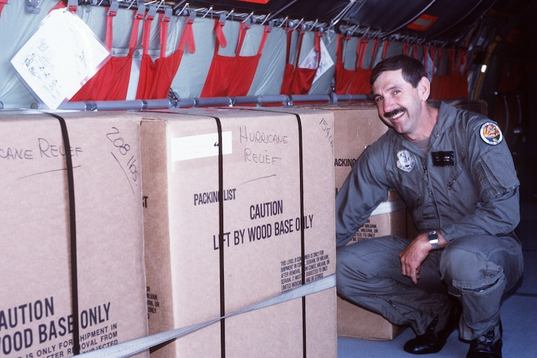 141st Air Refueling Wing Airmen load Hurricane Katrina relief supplies October of 1992. (U.S. Air Force courtesy photo)