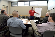 Dominic Ragucci, program manager for the Energy Resilience and Conservation Investment Program, leads a group discussion as part of an ERCIP workshop at Idaho National Laboratory held June 12-14, 2018. According to the ERCIP validation team in Huntsville, the workshop was a big step in finalizing the new ERCIP submission requirements for fiscal 2022. (Photo by Stephen Baack, Huntsville Center Public Affairs)