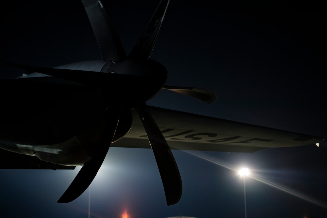 A U.S. Air Force WC-130J Hercules sits in the night on the ramp of the Air Dominance Center, Savannah, Ga., prepared for it's next  mission.The U.S. Air Force Reserve's 53rd Weather Reconnaissance Squadron, or Hurricane Hunters, is conducting a storm tasking mission into Hurricane Florence. The tasking provides critical and timely weather data for the National Hurricane Center to assist in providing up-to-date and accurate information for storm forecasts. (U.S. Air Force Photo by Tech. Sgt. Chris Hibben)