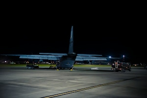 A U.S. Air Force WC-130J Hercules sits in the night on the ramp of the Air Dominance Center, Savannah, Ga., being prepared with fuel for it's next mission.The U.S. Air Force Reserve's 53rd Weather Reconnaissance Squadron, or Hurricane Hunters, is conducting a storm tasking mission into Hurricane Florence. The tasking provides critical and timely weather data for the National Hurricane Center to assist in providing up-to-date and accurate information for storm forecasts. (U.S. Air Force Photo by Tech. Sgt. Chris Hibben)
