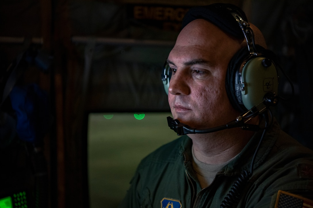 U.S Air Force Reserve Maj. Tobi Baker,53rd Weather Reconnaissance Squadron aerial reconnaissance weather officer, conducts reviews data gathered from Hurricane Florence Sept. 12, 2018. The tasking provides critical and timely weather data for the National Hurricane Center to assist in providing up-to-date and accurate information for storm forecasts. (U.S. Air Force photo by Tech. Sgt. Chris Hibben)