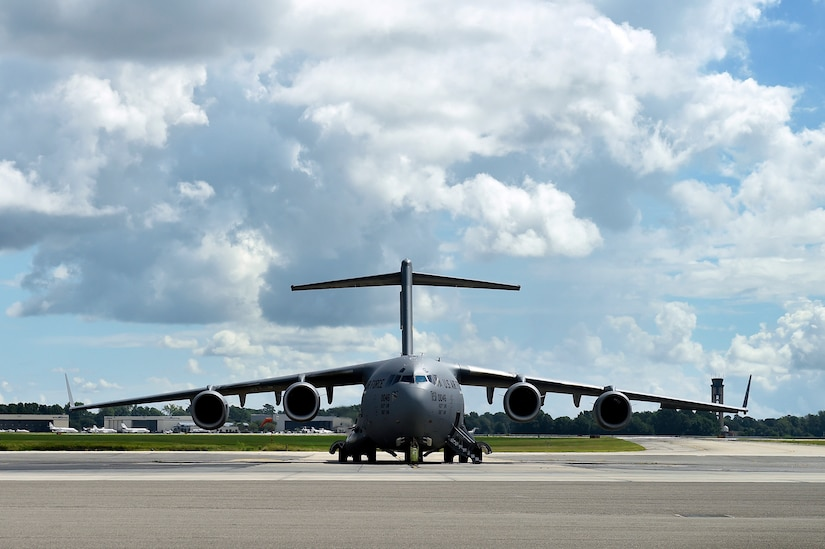A C-17 Globemaster III prepares to take off from the flight line at Joint Base Charleston, S.C., Sept. 11, 2018.