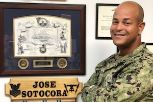 Navy Petty Officer 1st Class Jose Sotocora poses for a photo at a Navy Recruiting District Miami recruiting office in Brandon, Fla., July 18, 2018. Sotocora is recognized as one of the Navy's outstanding recruiters. Navy photo by Petty Officer 2nd Class Latrice Ames