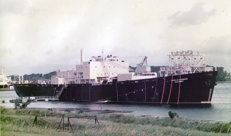 Undated image of STURGIS operating in the Panama Canal Zone. The STURGIS, a former World War II Liberty Ship, was converted into the first floating nuclear power plant in the 1960s. Before being shutdown in 1976, the STURGIS' nuclear reactor, MH-1A, was used to generate electricity for military and civilian use in the Panama Canal.