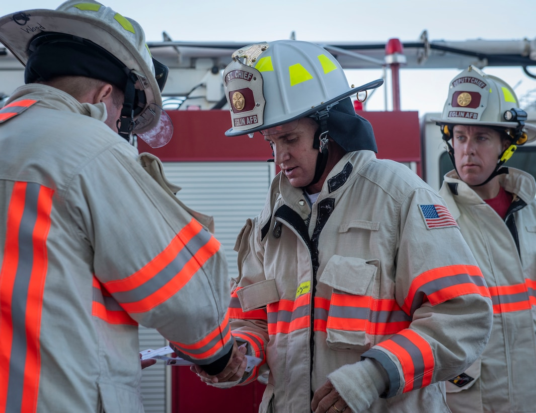 96th Civil Engineer Group Firefighters honor 9/11 firefighters with a memorial tower climb Sept. 11 at King Hangar at Eglin Air Force Base, Fla.