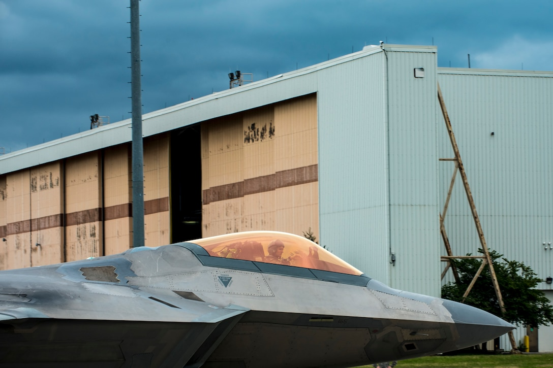 F-22 Raptors and T-38 Talons from Joint Base Langley-Eustis, Va., arrive at Rickenbacker Air National Guard Base Sept. 11, 2018, seeking shelter from Hurricane Florence. The 121st Air Refueling Wing has agreements with several units to provide shelter from inclement weather. (U.S. Air National Guard photo by Senior Master Sgt. Ralph Branson)
