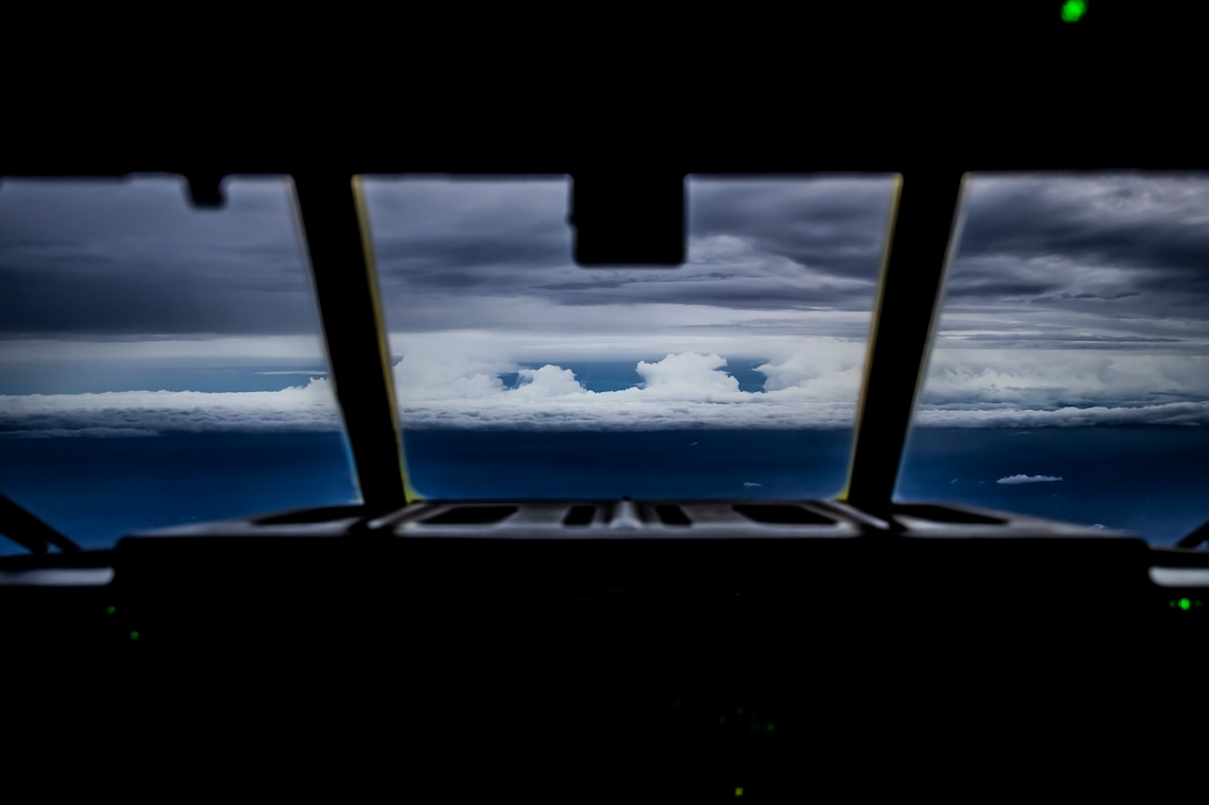 An HC-C130J approaches the edge of Hurricane Florence after a two and a half hour flight from Savannah Air National Guard Base, Ga., Sept. 12, 2018. The Air Force Reserve's 53rd Weather Reconnaissance Squadron, or Hurricane Hunters, conducted a storm tasking mission into Hurricane Florence, providing critical and timely weather data for the National Hurricane Center to assist in providing up-to-date and accurate information for storm forecasts. (U.S. Air Force photo by Tech. Sgt. Chris Hibben)