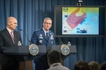 Kenneth P. Rapuano, left, assistant secretary of defense for homeland defense and global security, and Air Force Gen. Terrence J. O'Shaughnessy, commander of the North American Aerospace Defense Command and U.S. Northern Command, brief reporters at the Pentagon, Sept. 13, 2018, on Defense Department preparations for Hurricane Florence.