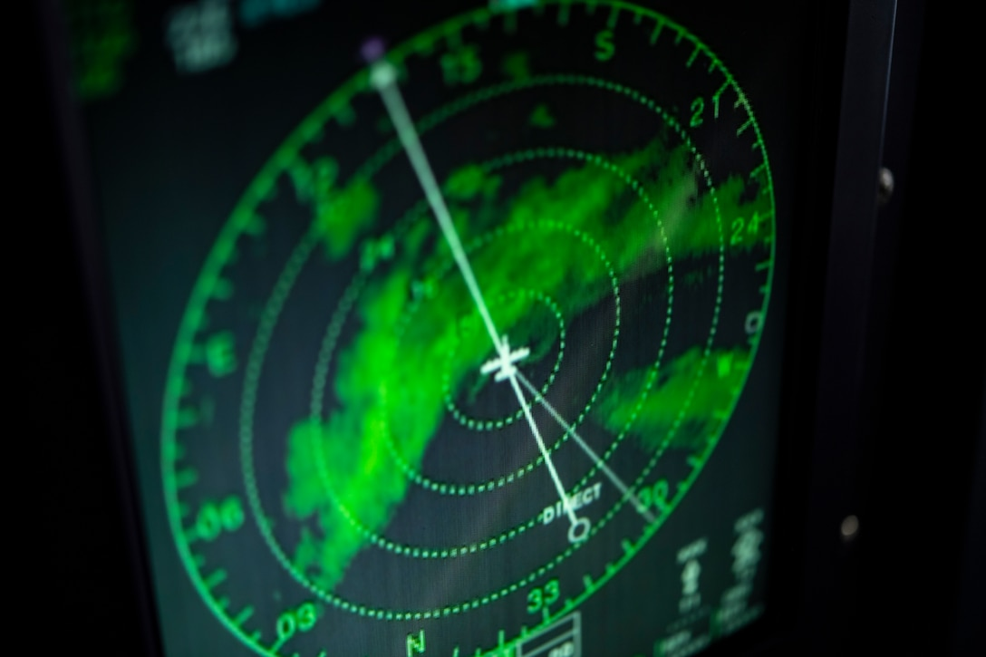 The doppler radar on board a WC-130J Hercules during a U.S. Air Force Reserve 53rd Weather Reconnaissance Squadron mission Sept. 12, 2018. Also known as the Hurricane Hunters, the squadron is conducting a storm tasking mission into Hurricane Florence to provide critical and timely weather data for the National Hurricane Center to assist in providing up-to-date and accurate information for storm forecasts. (U.S. Air Force photo by Tech. Sgt. Chris Hibben)