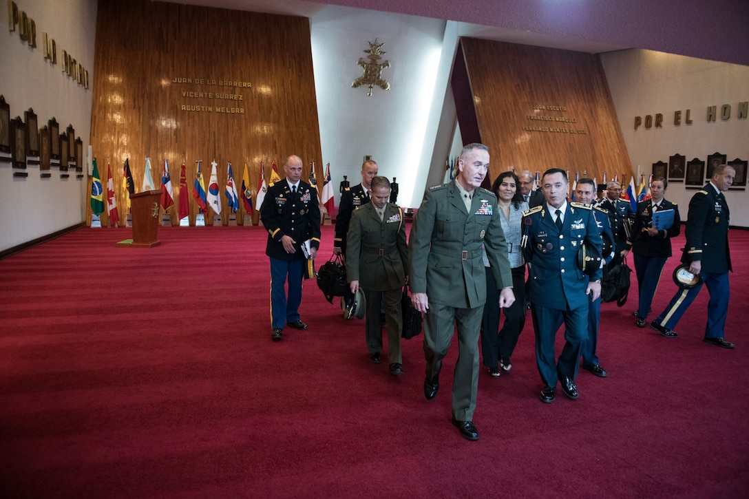 Marine Corps Gen. Joe Dunford walks through a museum in Mexico City.