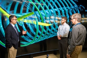 U.S. Army Research Laboratory engineers discuss aerodynamics.