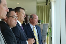 Dallas Mayor Mike Rawlings (center) looks over the Dallas Floodway from the City Club Dallas with Assistant Secretary of the Army for Civil Works R.D. James (right) along with Fort Worth District Commander Col. Kenneth N. Reed, the city of Dallas and U.S. Army Corps of Engineers representatives.