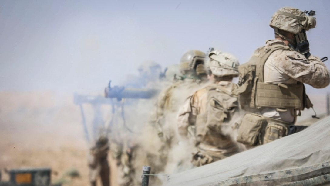 SOUTHWEST ASIA – U.S. Marines with 3rd Battalion, 7th Marine Regiment, attached to Special Purpose Marine Air-Ground Task Force, Crisis Response-Central Command, fire an Mk 153 shoulder-launch multipurpose assault weapon, at a target during a live-fire demonstration near At-Tanf Garrison, Syria, Sept. 7, 2018. SPMAGTF-CR-CC Marines supported Special Operations Joint Task Force – Operation Inherent Resolve, conducting live-fire demonstrations showcasing the unit's crisis response capabilities.  (U.S. Marine Corps photo by Cpl. Carlos Lopez)
