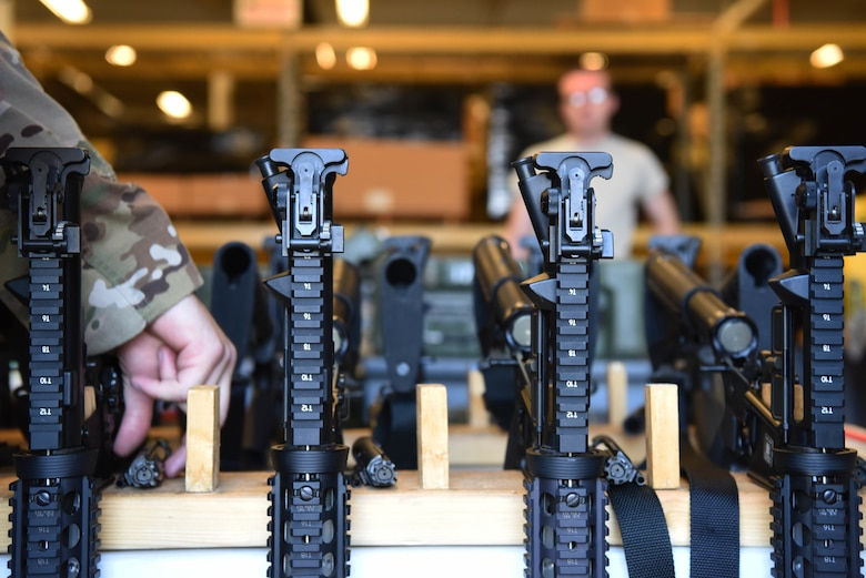 M4 carbines are disassembled to ensure they are in the proper condition at Ellsworth Air Force Base, S.D., Sept. 10, 2018. Members assigned to the 28th Security Forces Squadron combat arms training and maintenance flight conducted their biannual inspection of all weapons on base to ensure they are ready for use in a deployed environment and for training purposes. (U.S. Air Force photo by Airman 1st Class Thomas Karol)