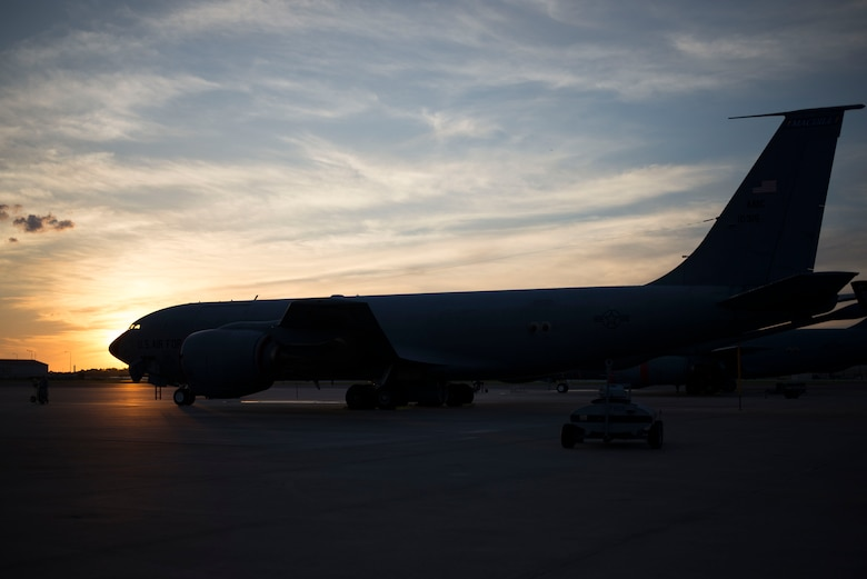 A KC-135 Stratotanker sits on the flightline at MacDill Air Force Base, Florida, Sept. 12, 2018.