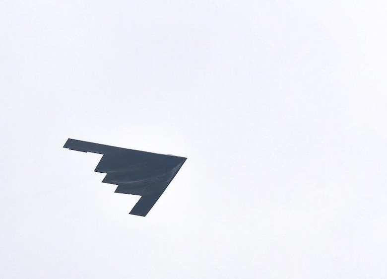 A B-2 Spirit from Whiteman Air Force Base, Missouri, performs a flyover at the Frontiers in Flight Open House and Air Show Sept. 8, 2018, at McConnell AFB, Kansas. The B-2 is a multi-role bomber, capable of delivering both conventional and nuclear munitions. (U.S. Air Force photo by Airman 1st Class Michaela R. Slanchik)