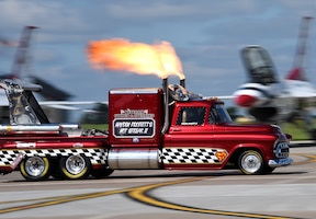 The Smoke N Thunder Hot Steak II JetTruck performs at the Frontiers in Flight Open House and Air Show Sept. 9, 2018, at McConnell Air Force Base, Kansas. The twin-jet-engine truck is capable of speeds higher than 350 mph and entertains at air shows and drag races across the country. (U.S. Air Force photo by Airman 1st Class Michaela R. Slanchik)