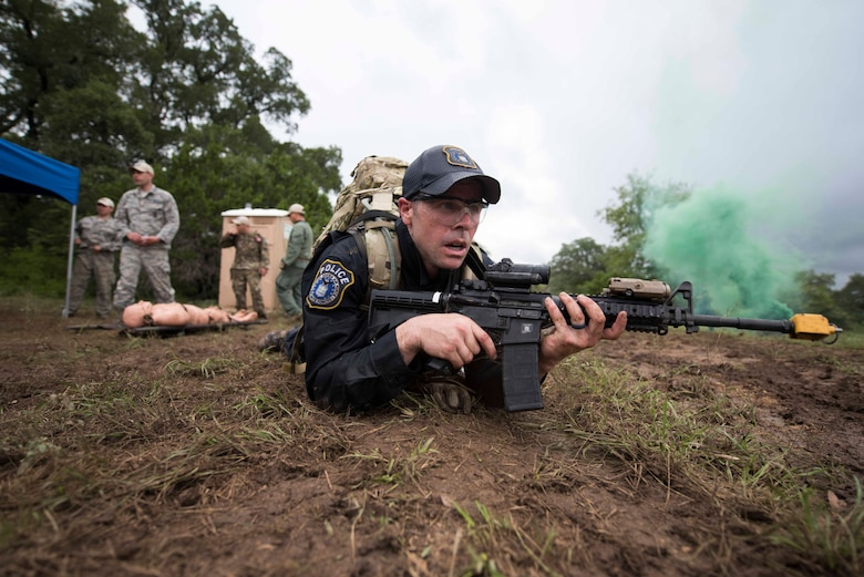U.S. Air Force Airmen with Air Education and Training Command, compete in a dismounted operation competition during Air Force Defender Challenge.