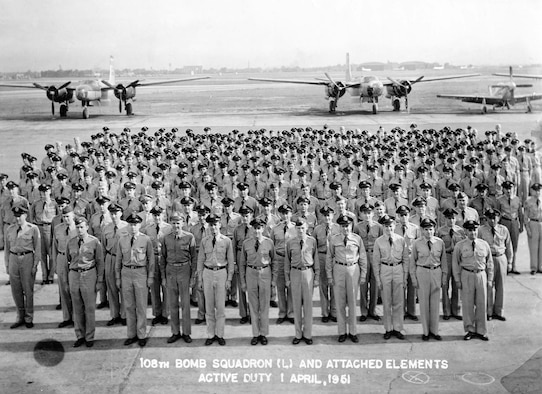 The 108th Bombardment Squadron during a Korean War activation formation in 1951. (U.S. Air Force photo)