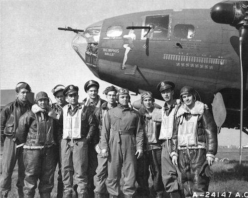 "The crew of the Boeing B-17 ""Memphis Belle"" is pictured at an air base in England after completing 25 missions over enemy territory. The crew, left to right: Tech. Sgt. Harold P. Loch, Staff Sgt. Cecil H. Scott, Tech. Sgt. Robert J. Hanson, Capt. James A. Verinis, Capt. Robert K. Morgan, Capt. Charles B. Leighton, Staff Sgt. John P. Quinlan, Staff Sgt. Casimer A. Nastal, Capt. Vincent B. Evans and Staff Sgt. Clarence B. Winchell. (U.S. Army Air Forces photo)"
