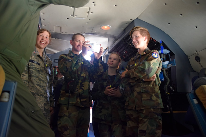 "Members of ""Tex"" Hill Composite Squadron Civil Air Patrol tour a C-5M Super Galaxy aircraft's cockpit at Joint Base San Antonio-Lackland, Texas, Sept. 8, 2018."