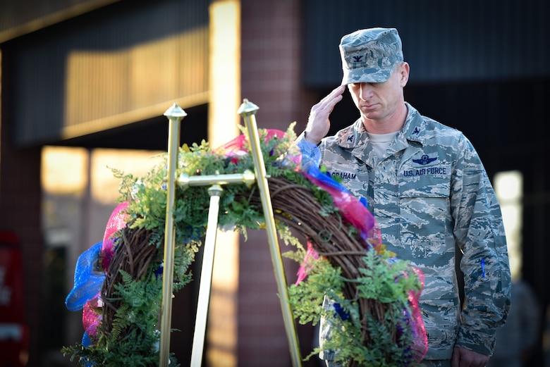 Whiteman Air Force Base Personnel and Base Honor Guard took place in a wreath laying ceremony to commemorate those lost during the September 11th attacks.
