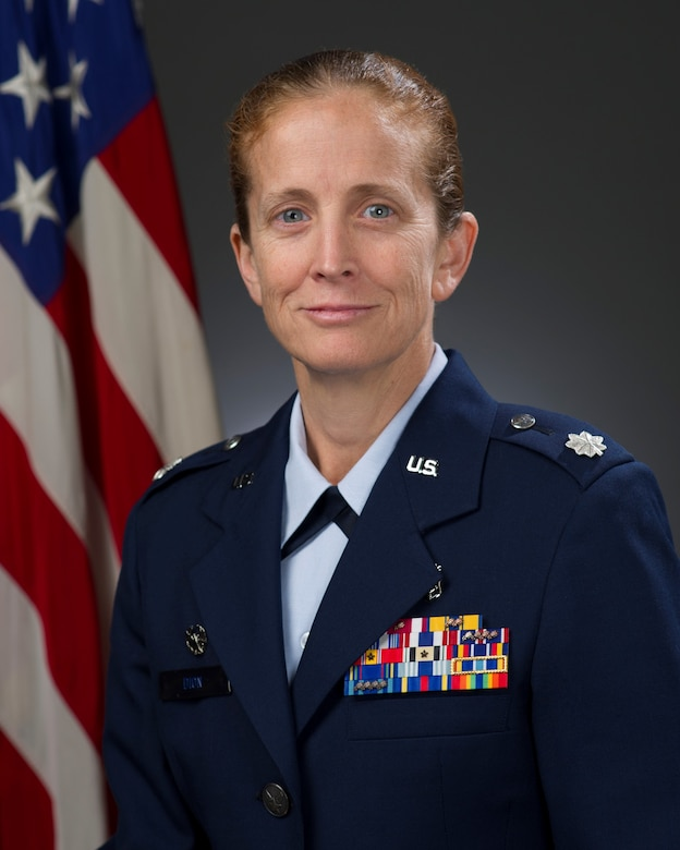 Lt. Col. Beth Dion, 60th Inpatient Operations Squadron commander, shares some thoughts on innovation and how the legacy of Maj. Gen. David Grant continues to grow stronger today. (U.S. Air Force Photo)