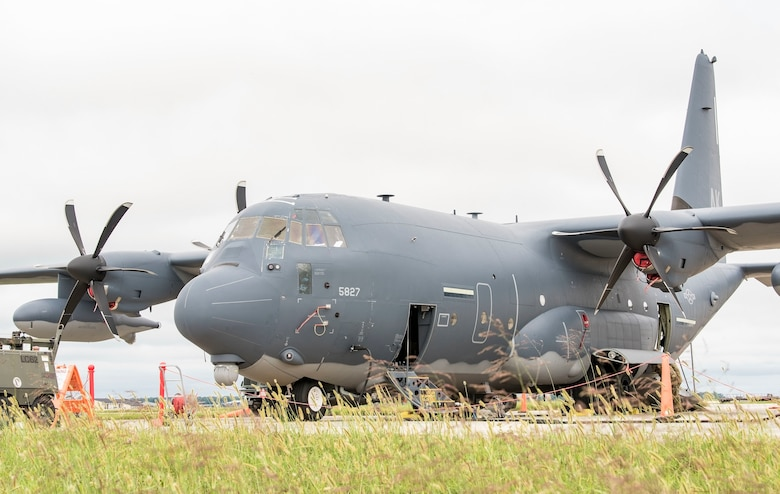 An Alaska Air National Guard HC-130J sits on the transient parking area Sept. 13, 2018, at Dover Air Force Base, Del. Members and equipment from the Guard arrived at Dover on Sept. 12 to support hurricane relief efforts when called upon. (U.S. Air Force photo by Roland Balik)