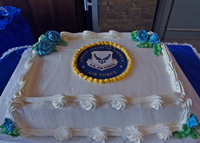 A cake for the Air Force's 71st birthday celebration sits on a table before the main event at the Armed Forces Retirement Home in Washington, D.C., Sept. 14, 2018. AFRH retirees and Joint Base Andrews Airmen attended the event. (U.S. Air Force photo by Senior Airman Abby L. Richardson)