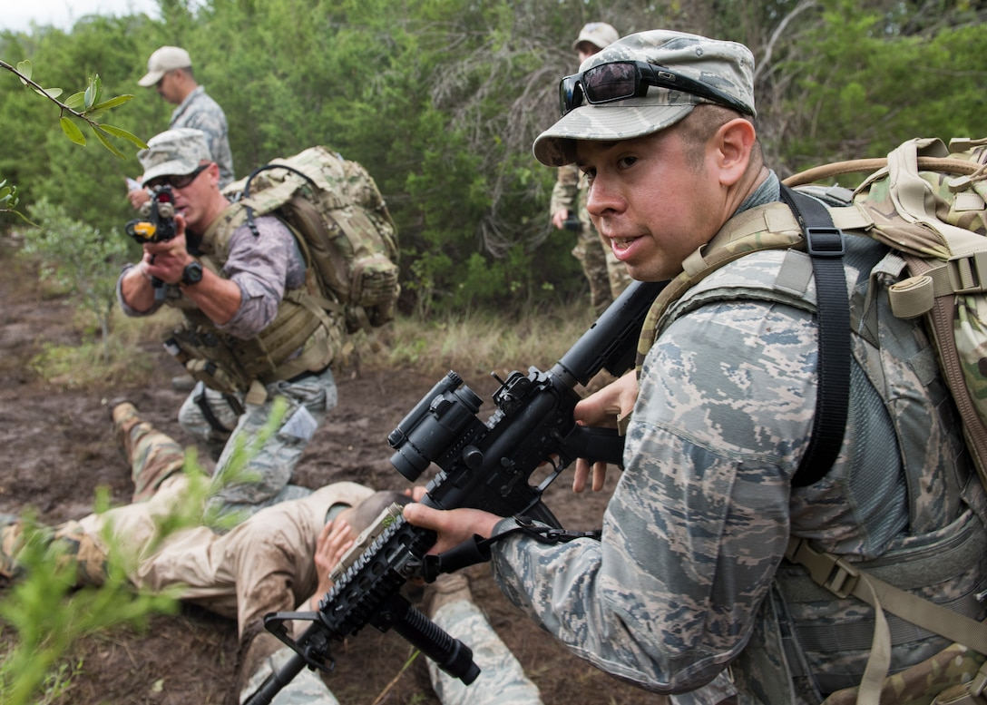Tech. Sgt. Felipe Fernandez, an ANG security forces craftsman assigned to the 147th Attack Wing, Houston, Texas, secures a potential threat during the dismounted operations competition during AF Defender Challenge.