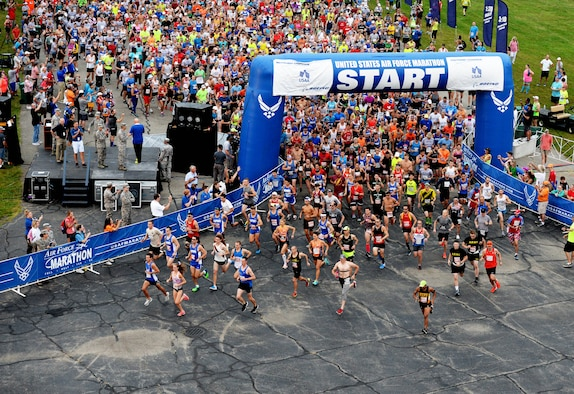 Runners take off for the 26.2 mile full marathon at Wright-Patterson Air Force base on Sept. 15, 2018.  Over 13,000 runners participated in the 5K, 10K, half and full marathons.  2018 marked the 22nd anniversary of the Air Force Marathon.