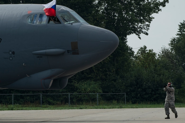 An Air Force Reserve Command B-52H Stratofortress displays the flag of the Czech Republic as it arrives at the Ostrava Airport on Sept. 13, 2018. The aircraft is assigned the 307th Bomb Wing at Barksdale AFB, La., and is supporting the NATO Days airshow on Sept. 15-16, 2018. (U.S. Air Force photo by Master Sgt. Greg Steele)