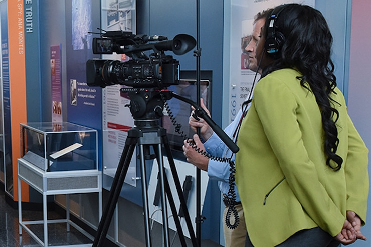 DIA Video team members conduct interviews during the opening of the DIA museum.