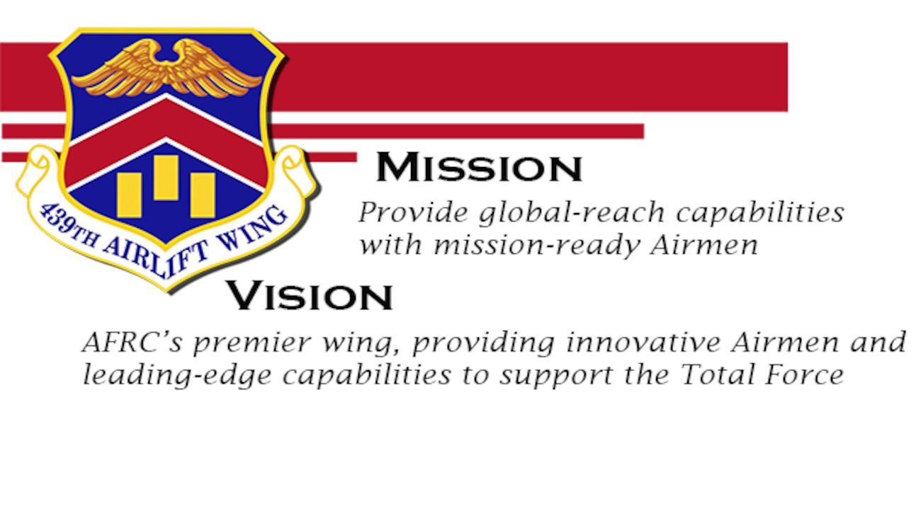 The 439th Airlift Wing's mission is to provide global-reach capabilities with mission-ready Airmen.