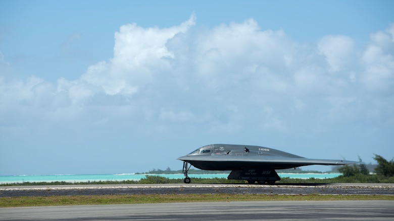 A U.S. Air Force B-2 Spirit deployed from Whiteman Air Force Base, Missouri, taxis at Wake Island Airfield Sept. 14, 2018.