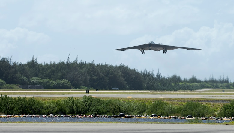 A U.S. Air Force B-2 Spirit deployed from Whiteman Air Force Base, Missouri, takes off from Wake Island Airfield Sept. 14, 2018.