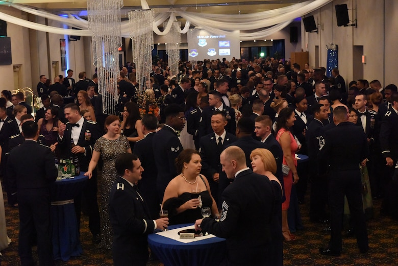 Guests mingle during cocktail hour at an Air Force 71st Birthday Ball held at Osan Air Base, Republic of Korea, September 15, 2018.
