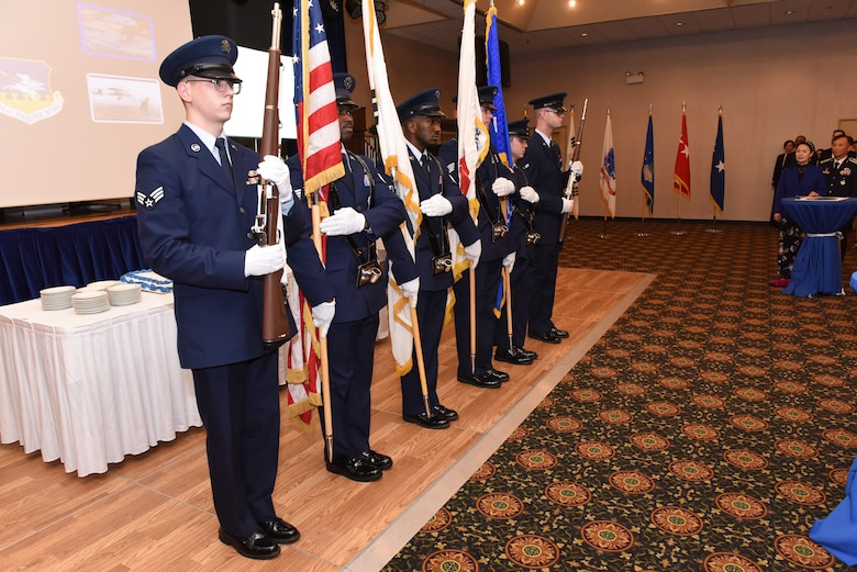 A U.S. Air Force honor guard presents the colors during the American and Republic of Korea national anthems at an Air Force 71st Birthday Ball at Osan Air Base, Republic of Korea, September 15, 2018.