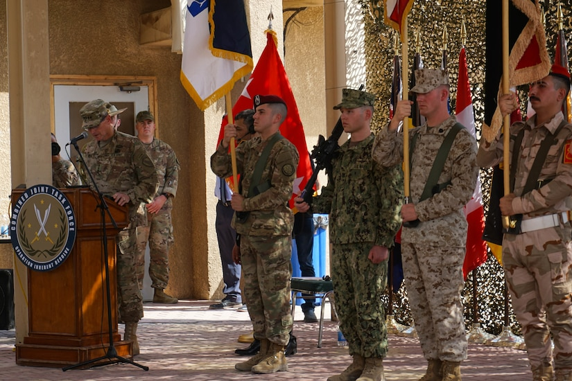 U.S. Army Gen. Joseph L. Votel, commanding general of U.S. Central Command, delivers opening remarks during the Combined Joint Task Force – Operation Inherent Resolve transfer of authority ceremony in Baghdad, Sept. 13, 2018. The U.S. Army's III Armored Corps, deployed from Fort Hood, Texas, to areas in Southwest Asia, transferred its command authority to the XVIII Airborne Corps, deployed from Fort Bragg, North Carolina.  CJTF-OIR is a 79-member global coalition, which works by, with, and through partner forces to defeat ISIS in designated areas of Iraq and Syria, and sets conditions for follow on operations to increase regional stability.