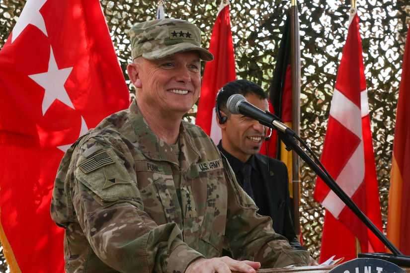 U.S. Army Lt. Gen. Paul E. Funk II, gives farewell remarks during the Combined Joint Task Force – Operation Inherent Resolve transfer of authority ceremony in Baghdad, Sept. 13, 2018. The U.S. Army's III Armored Corps, deployed from Fort Hood, Texas, to areas in Southwest Asia, transferred its command authority to the XVIII Airborne Corps, deployed from Fort Bragg, North Carolina.  CJTF-OIR is a 79-member global coalition, which works by, with, and through partner forces to defeat ISIS in designated areas of Iraq and Syria, and sets conditions for follow-on operations to increase regional stability.