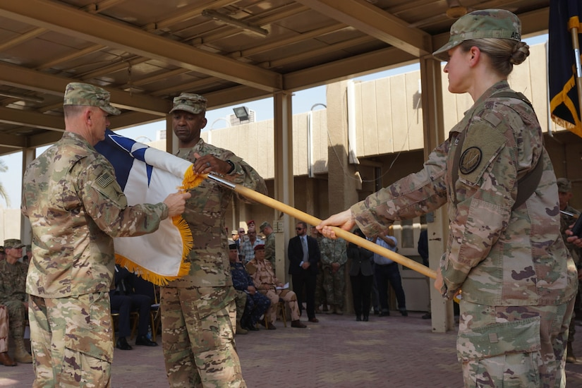 U.S. Army Lt. Gen. Paul E. Funk II, commanding general of III Armored Corps, and Command Sgt. Maj. Michael Crosby, case the III Armored Corps colors at the Combined Joint Task Force – Operation Inherent Resolve transfer of authority ceremony in Baghdad, Sept. 13, 2018. The U.S. Army's III Armored Corps, deployed from Fort Hood, Texas to areas in Southwest Asia, transferred its command authority to the XVIII Airborne Corps, deployed from Fort Bragg, North Carolina.  CJTF-OIR is a 79-member global coalition, which works by, with, and through partner forces to defeat ISIS in designated areas of Iraq and Syria, and sets conditions for follow-on operations to increase regional stability.
