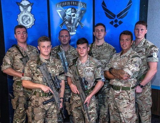 The team representing the Royal Air Force, from left to right, Flight Lt. Dominic Hulton, Lance Cpl. Adam Butler, Senior Aircraftman John Catlow, Senior Aircraftman Levi Hague, Lance Cpl. Richard Hislop and Cpl. Matthew Simmons.