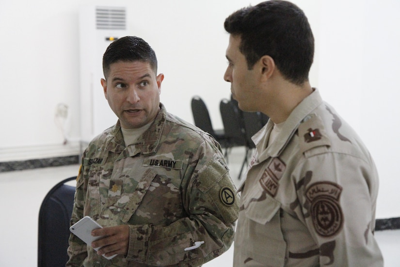 Maj. John Salazar,  information operations officer for U.S. Army Central, instructs a class to Egyptian counterparts on information operations in the command post exercise during Operation Bright Star 18, on September 6, 2018. The command post exercise was designed to strengthen strategic relationships between multinational armed forces to solve potential real life threats.
