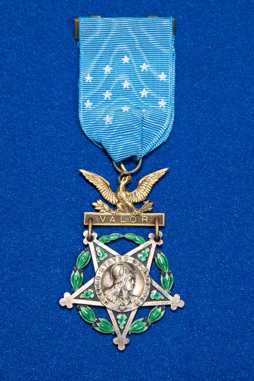 WWI observer Lt. Erwin R. Bleckley Medal of Honor on display in the Early Years Gallery at the National Museum of the U.S. Air Force. (U.S. Air Force photo by Ken LaRock)