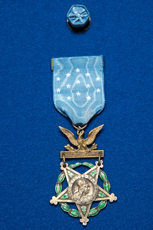 WWI pilot Lt. Frank Luke Jr. Medal of Honor on display in the Early Years Gallery at the National Museum of the U.S. Air Force. (U.S. Air Force photo by Ken LaRock)